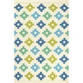 Handmade Blue/ Green Polypropylene Area Rug (5'x7'6)