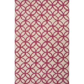 Hand Tufted Geometric Pattern Red/ Natural Wool Area Rug (8' x 10')
