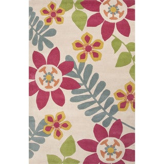 Hand Tufted Floral Pattern Pink/ Multi Wool Area Rug (5' x 8')