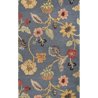 Hand Tufted Floral Pattern Blue/ Red Wool/ Art Silk Area Rug (8'x10')