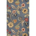 Hand Tufted Floral Pattern Blue/ Red Wool/ Art Silk Area Rug (5'x8')