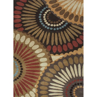Hand Tufted Geometric Pattern Brown/ Red Wool Area Rug (9'x12')