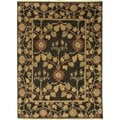 Hand Knotted Floral Pattern Brown/ Gold Wool Area Rug (10'x14')