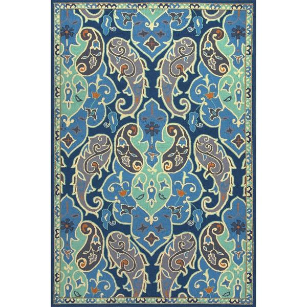 Handmade Floral Pattern Blue/ Ivory