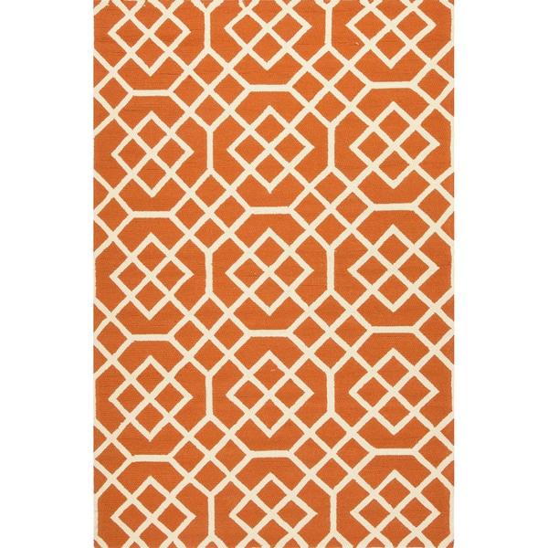 Geometric Pattern Orange White Polypropylene Area Rug 7