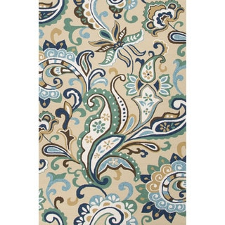 Abstract Pattern Blue/ Beige Area Rug (3'6 x 5'6 )