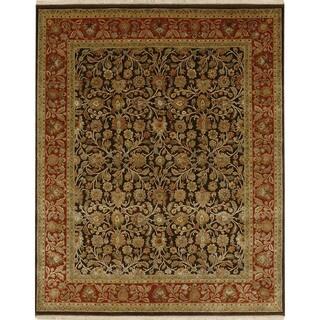 Oriental Pattern Brown/ Red Wool/ Art Silk Area Rug (10'x14')