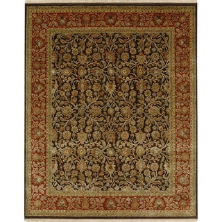 Oriental Pattern Brown/ Red Wool/ Art Silk Area Rug (6'x9')