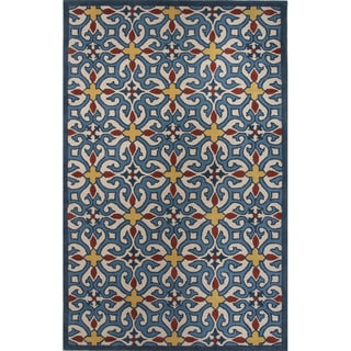 Hand Tufted Geometric Pattern Blue/ Gold Wool Area Rug (8' x 10')