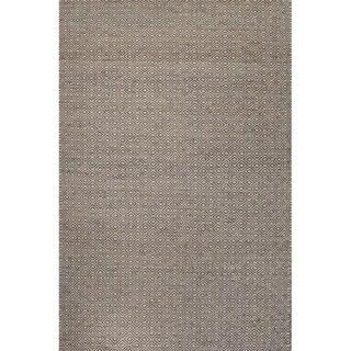 Handmade Geometric Pattern Grey/ White Wool/ Hemp Area Rug (4'x6')