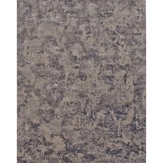 Hand Knotted Floral Pattern Blue Wool/ Art Silk Area Rug (8' x 10')