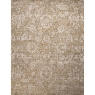 Hand Knotted Floral Pattern Grey Wool/ Art Silk Area Rug (8'x10')