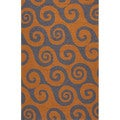 Abstract Pattern Orange/ Grey Polypropylene Area Rug (7'6x9'6)