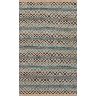 Handmade Abstract Pattern Blue/ Natural Jute Area Rug (2' x 3'4)