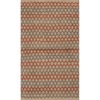 Handmade Abstract Pattern Orange/ Grey Jute Area Rug (2'x3'4)