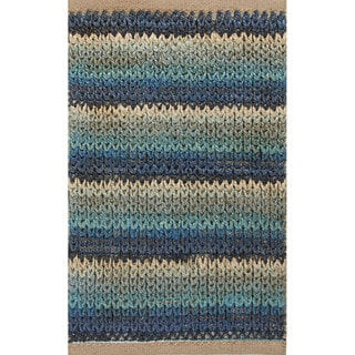 Handmade Abstract Pattern Blue/ Ivory Jute/ Cotton Area Rug (2'x3'4)