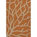 Abstract Pattern Orange/ Grey Polypropylene Area Rug (7'6x9'6)