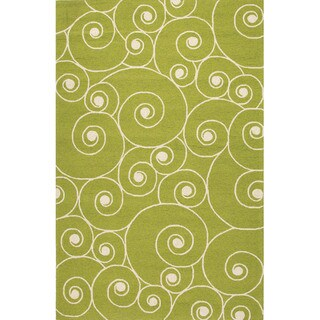 Abstract Pattern Green/ Ivory Polypropylene Area Rug (7'6x9'6)