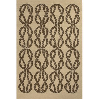 Abstract Pattern Beige/ Brown Polypropylene Area Rug (3'6x5'6)