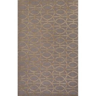 Geometric Pattern Beige/ Grey Wool/ Art Silk Area Rug (3'6x5'6)