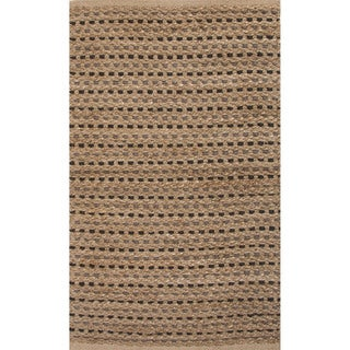 Handmade Abstract Pattern Brown/ Natural Jute Area Rug (2'x3'4)