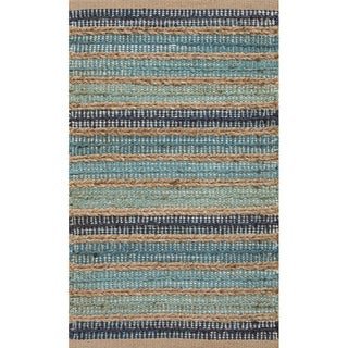 Handmade Blue/ Natural Jute/ Cotton Area Rug (2' x 3'4)