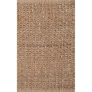 Handmade Natural/ Orange Jute/ Cotton Area Rug (2'x3'4)