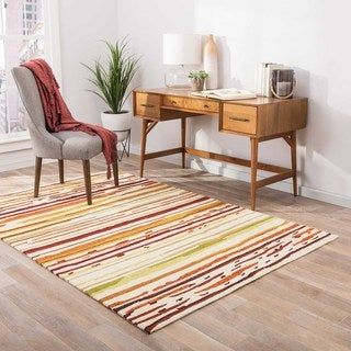 Abstract Pattern Red/ Orange Polypropylene Area Rug (3'6x5'6)