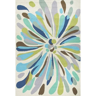Abstract Pattern Blue/ Green Polypropylene Area Rug (7'6 x 9'6)