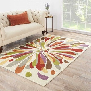 Handmade Abstract Pattern Red/ Multi Polypropylene Area Rug (3'6x5'6)