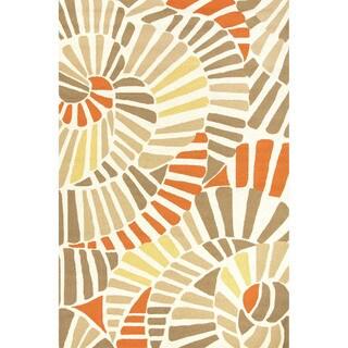 Abstract Pattern Orange/ Beige Polypropylene Area Rug (5' x 7'6)