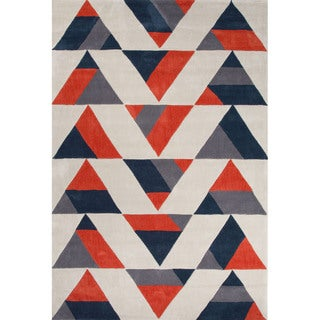 Hand Tufted Geometric Pattern Red/ Black Polyester Area Rug (7'6x9'6)