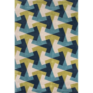 Geometric Pattern Blue/ Green Polyester Area Rug (7'6x9'6)
