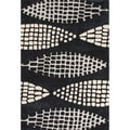 Hand Tufted Geometric Pattern Black/ Beige Polyester Area Rug (2'x3')