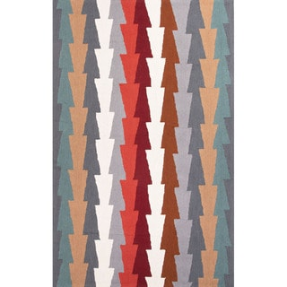 Hand Tufted Geometric Pattern Red/ Blue Polyester Area Rug (7'6x9'6)