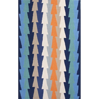 Geometric Pattern Blue/ Orange Polyester Area Rug (7'6x9'6)