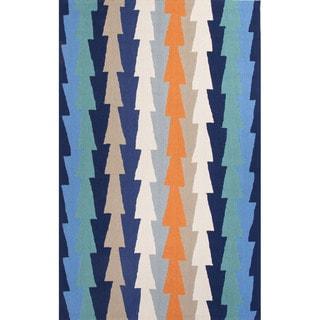 Geometric Pattern Blue/ Orange Polyester Area Rug (7'6x9'6)