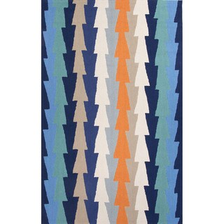 Geometric Pattern Blue/ Orange Polyester Area Rug (3'6x5'6)