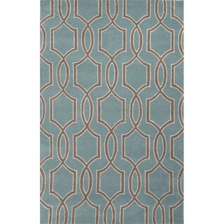 Hand Tufted Geometric Pattern Blue/ Brown Wool Area Rug (5' x 8')