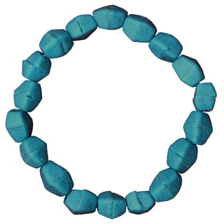 Teal Recycled Glass Pebbles Bracelet (Ghana)