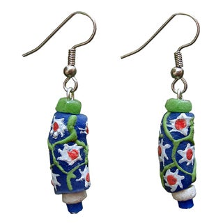 Recycled Glass Prosperity Bead Sister Earrings (Ghana)