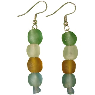 Rainbow Pearl Recycled Glass Earrings (Ghana)