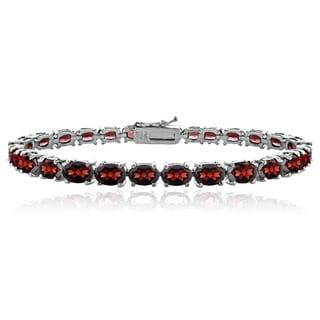 Glitzy Rocks Sterling Silver 20 1/3ct TGW Garnet Tennis Bracelet