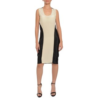 Vera Wang Women's Tan and Black Contemporary Silk Eve Dress