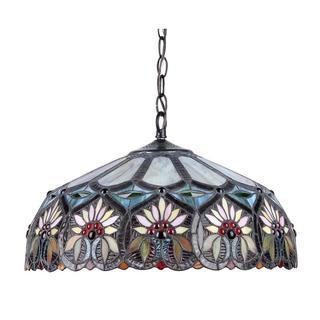 Tiffany Style Floral Design Dark Bronze 2-light Pendant
