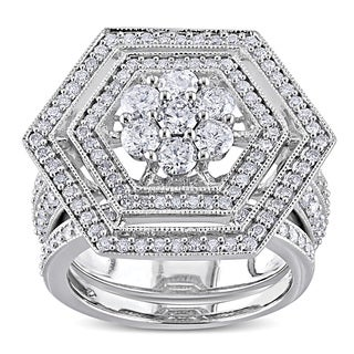 Miadora 10k White Gold 2ct TDW Diamond Bridal Ring Set (H-I, I2-I3)