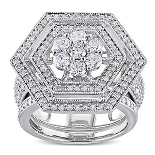 Miadora Signature Collection 10k White Gold 2ct TDW Diamond Bridal Ring Set (H-I, I2-I3)