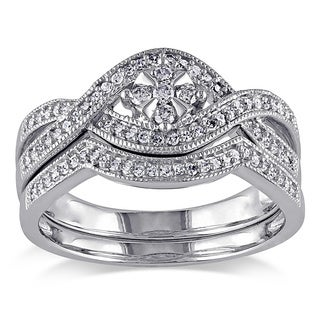 Miadora 10k White Gold 1/3ct TDW Diamond Floral Bridal Ring Set (H-I, I2-I3)