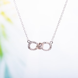 Haylee Jewels Sterling Silver Diamond Heart Infinity Necklace (H-I, I2-I3)