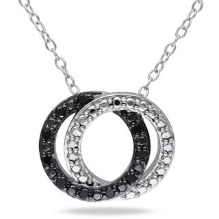 Haylee Jewels Sterling Silver 1/10ct TDW Black Diamond Circle Necklace
